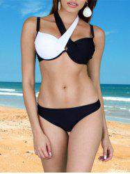 Brief Criss-Cross Patchwork Bikini Set For Women - WHITE AND BLACK S