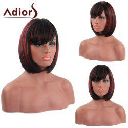 Bob Style Straight Capless Fashion Short Side Bang Synthetic Adiors Wig For Women - COLORMIX