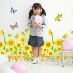 Sunflower Pattern Removeable Wall Stickers For Kids Room - COLORMIX
