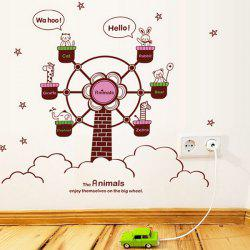 Fashion DIY Cartoon Animal and Ferris Wheel Pattern Wall Stickers For Children's bedroom - COLORMIX