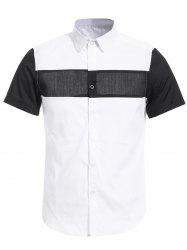 Vogue Shirt Collar White and Black Spliced Short Sleeves Shirt For Men