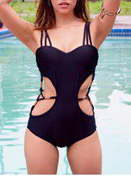 Stylish Strappy Hollow Out One Piece Black Swimwear For Women
