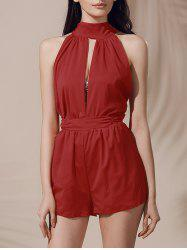 Sleeveless High Waisted Open Back Cut Out Romper - DEEP RED