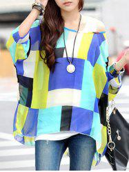 Fashionable Women's Plaid Color Block Loose-Fitting T-Shirt