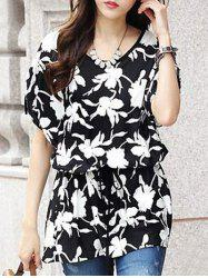 Fashionable Women's Short Sleeve Floral Print Loose-Fitting Belted T-Shirt -