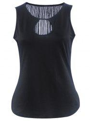 Simple Style Women's Cut Out Fringed Tank Top -