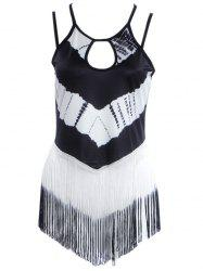 Simple Style Women's Cut Out Fringed Print Tank Top