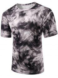 Round Neck Abstract Print Short Sleeve Stylish T-Shirt For Men -
