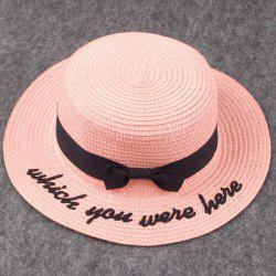 Bow Embroidery Hipsters Sun Hat with Writing -