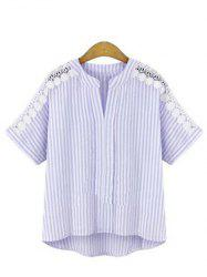 Plus Size Fashionable Short Sleeve Crochet Trim Stripe Women's Loose Shirt