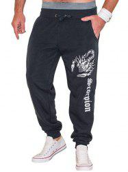 Lace-Up Scorpion and Letters Print Beam Feet Jooger Pants For Men - DEEP GRAY