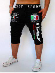 Lace-Up Flag and Letters Print Beam Feet Cropped Pants For Men - BLACK