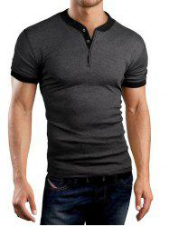 Buttons Embellished Solid Color Short Sleeve T-Shirt For Men - DEEP GRAY M