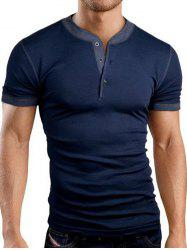 Buttons Embellished Solid Color Short Sleeve T-Shirt For Men - CADETBLUE