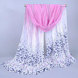 Chic Scrawl Stripe and Leopard Pattern Ombre Chiffon Scarf For Women - PINK