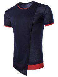 Asymmetric Top Fly Color Spliced Round Neck Short Sleeves Slimming T-Shirt For Men - CADETBLUE
