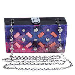 Sweet Flower Print and Metal Design Evening Bag For Women -