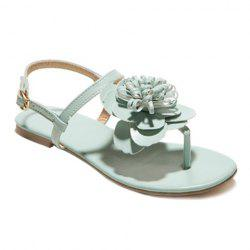Simple Flat Heel and Flower Design Sandals For Women - LIGHT GREEN