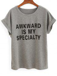 Casual Rolled Sleeve Lettering Women's Grey T-Shirt -