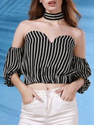 Stylish Strapless Flare Sleeve Off The Shoulder Striped Women's Blouse