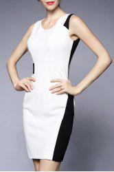 V Neck Color Block Sheath Dress -