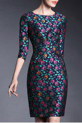 Floral Jacqurd Sheath Dress -