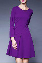 A Line Pleated Long Sleeve Dress -