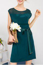 Solid Color Waist Tied Dress -