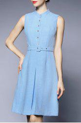 A Line Knee Length Sleeveless Dress -
