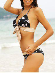 Stylish Halter Cut Out Flower Print Women's Bikini Set -