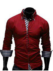 Checked Splicing Design Turn-Down Collar Long Sleeve Shirt For Men - RED