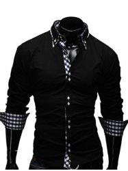 Checked Splicing Design Casual Button Down Shirt - BLACK XL