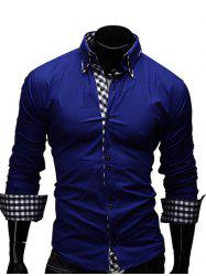 Checked Splicing Design Casual Button Down Shirt - SAPPHIRE BLUE L