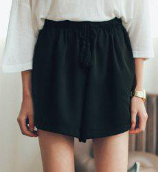 Casual Elastic Waist Solid Color Shorts For Women - BLACK