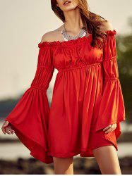 Trendy Cold Shoulder Bell Sleeve Women's Red Dress