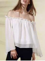 Stylish Flare Sleeve Off The Shoulder Solid Color Chiffon Women's Blouse