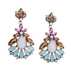 Pair of Rhinestone Flower Water Drop Earrings