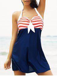 Halter Sailor Swimdress Stripe Tankini Top Bathing Suit - RED AND WHITE AND BLUE M