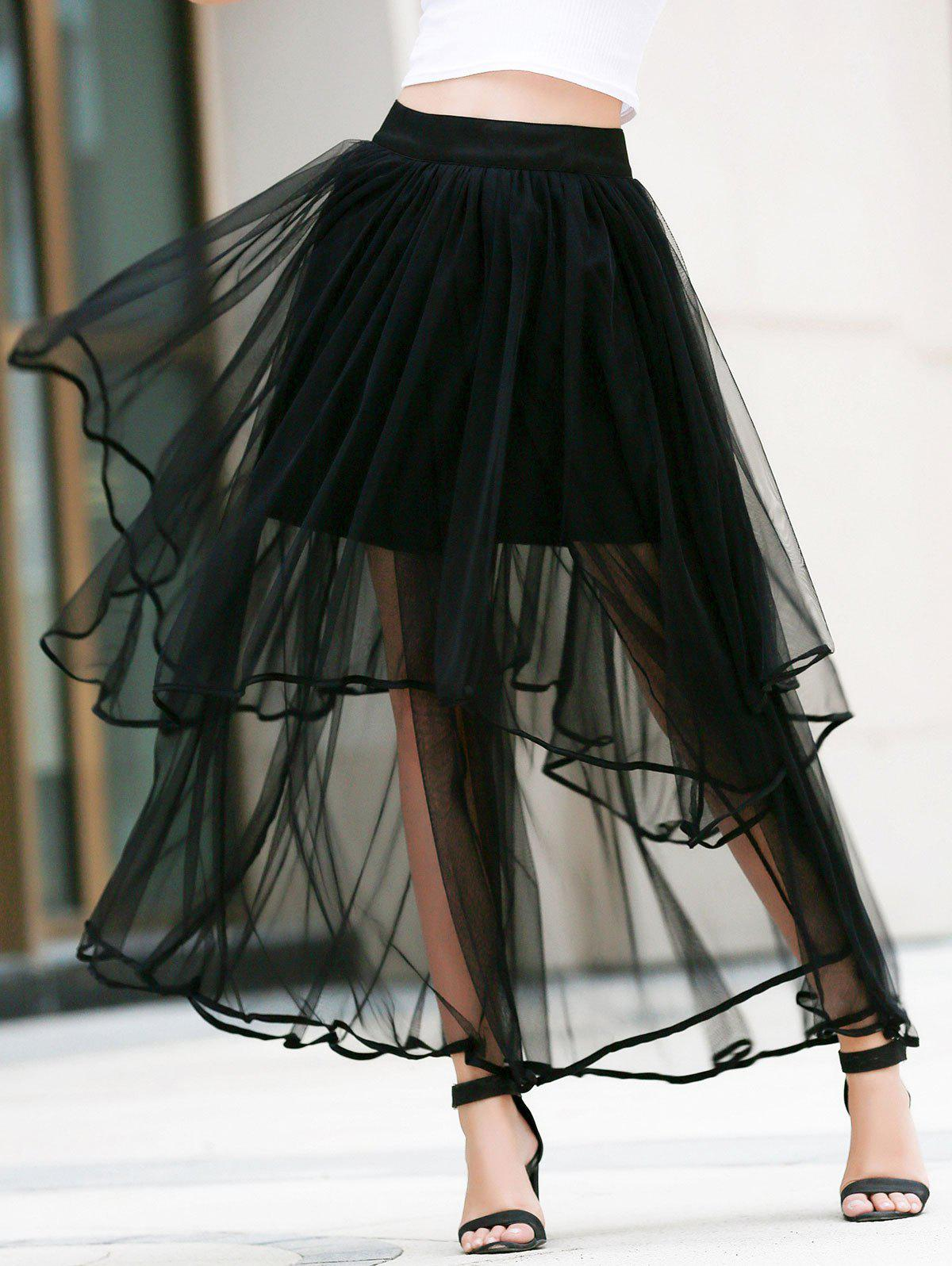 black l fashion high waisted layered s tulle skirt