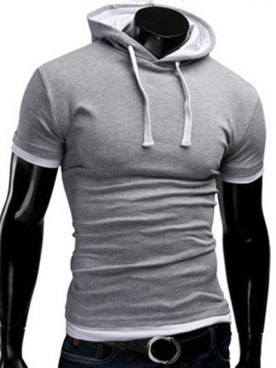 Latest Hooded Solid Color Short Sleeve T-Shirt For Men