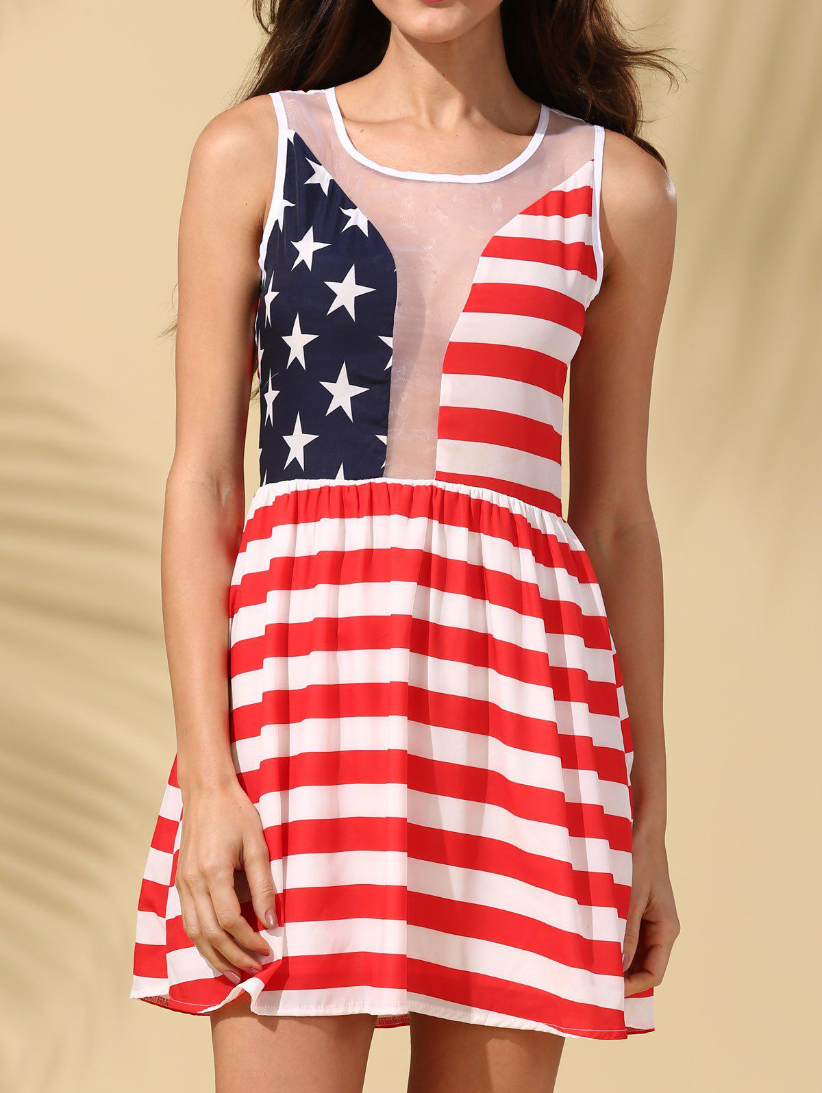 Store American Flag See-Through Patriotic Dress