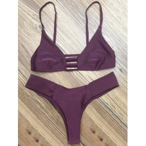 Spaghetti Strap Hollow Out Women's Bikini Set