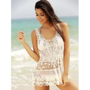See-Through Lace Short Swimsuits Cover Ups -