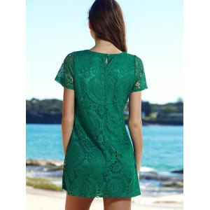 Stylish Round Collar Short Sleeve Solid Color Lace Women's Dress - GREEN S