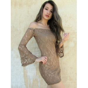 Sexy Boat Neck Flared Sleeve Lace Dress For Women -