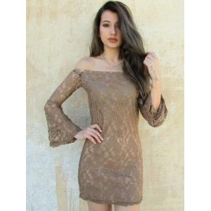Sexy Boat Neck Flared Sleeve Lace Dress For Women - KHAKI ONE SIZE