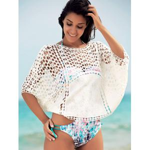 Dolman Sleeve Openwork Cover Ups Bathing Suit - WHITE ONE SIZE(FIT SIZE XS TO M)