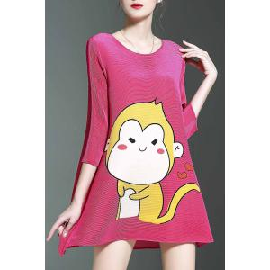 Stylish Round Neck 3/4 Sleeve Loose Cartoon Print Women's Dress -