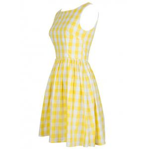 Vintage Women's Plaid Jewel Neck Sleeveless Dress -