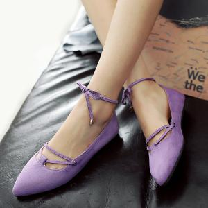 Pointed Toe Lace Up Ballet Flats - LIGHT PURPLE 38